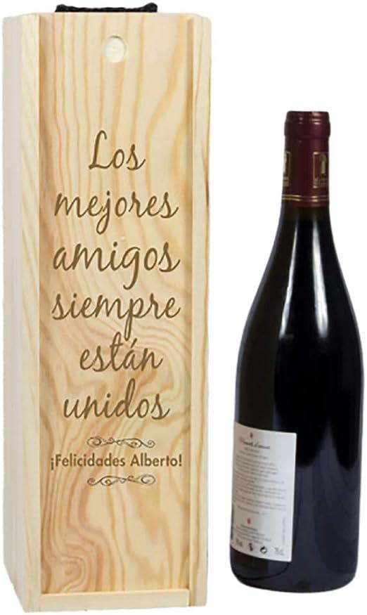 Compra Calledelregalo Regalo Personalizable: Caja para Botella de Vino grabada con el Texto Que tú Quieras en Amazon.es