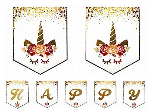 Happy Birthday Banner unicornio Decoraciones de Feliz Cumpleaños empavesado Banner Holográfico Banderines bandera para Decoraciones del Partido Fiesta de ...
