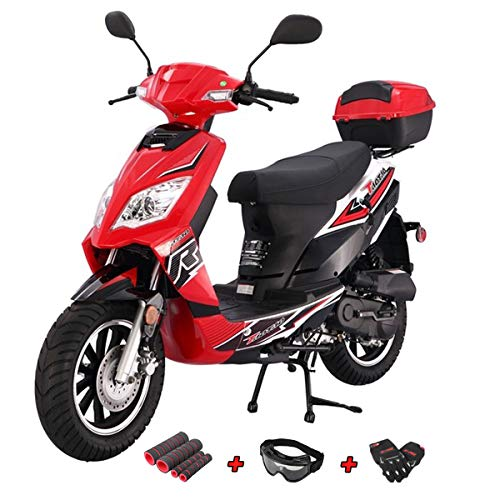 - X-Pro 50cc Moped Scooter Gas Moped Scooter 50cc Street Scooter Bike Fully Assembled and Tested with Gloves, Goggle and Handgrip (Black)
