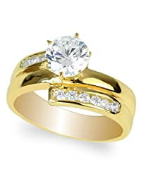 JamesJenny Yellow Gold Plated 1.0 carat Round CZ 3 Lined Fashion Solitaire Ring Size 4-10