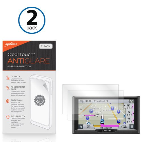 Garmin Nuvi 67LM Screen Protector, BoxWave [ClearTouch Anti-Glare (2-Pack)] Anti-Fingerprint Matte Film Skin for Garmin Nuvi 67LM - Garmin Nuvi Screen Protector