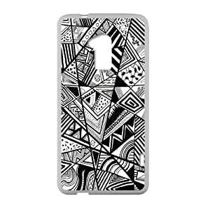 Get Your Own Style Of TPU Cover Case Otterbox For HTC One Max - Triangle Art Design Polygon Seperated Pieces Black and White