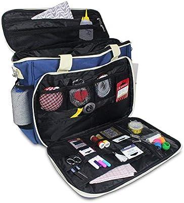 La Canilla ® - Bolsa para Máquina de Coser Funda Máquina de Coser Alfa Maleta de Transporte para Máquinas de Coser Singer y otros Accesorios Máquina Coser (Accesorios No Incluidos) (Azul): Amazon.es: