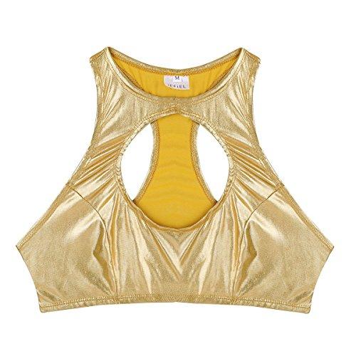 Alvivi Corta Fitness Mujer Sin Camiseta Manga Transparente Crop Camisola Dorado Sujetador Push Sexy Cuello Chaleco Up Clubwear Blusa Tops Deportivo r46nZrf
