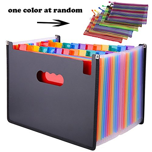 24 Pocket Expanding File Folder with Cloth Edge Wrap, Letter Size Organizer Expandable Accordion A4 Files Bag