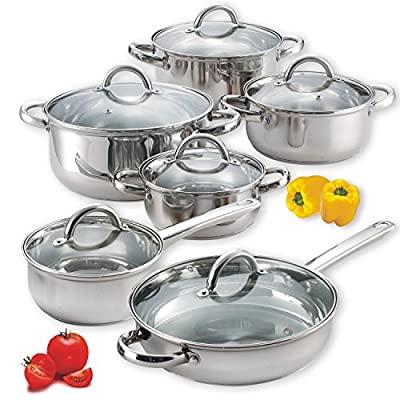 Cook N Home NC-00250 12 Piece Stainless Steel Cookware Set