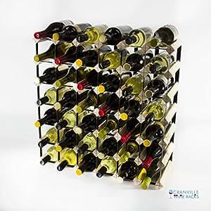 Classic 42botella Madera de pino y metal negro Vino rack Montado