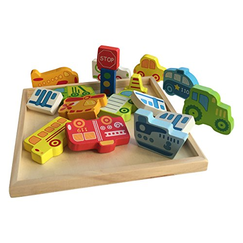 Tray 4 Assembly (Chunky Wooden Jigsaw Puzzle Set and Play Pieces with Wooden Assembly Tray - Planes, Trains and Automobiles Theme - Fun, Educational and Interactive)