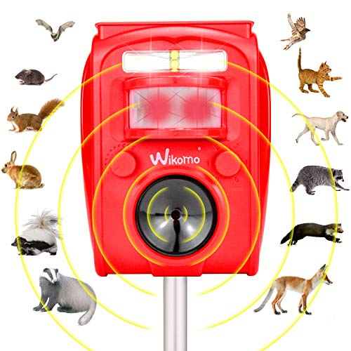 Wikomo Pest Repeller, Solar Powered Red Animal Repeller Waterproof Outdoor with Ultrasonic Sound,Motion Sensor and Flashing Light pest Repeller for Cats, Dogs, Squirrels, Moles, Rats