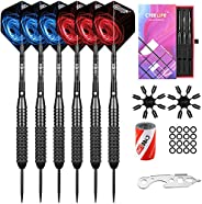 CyeeLife Steel Tip Darts 20/22/24/26g Professional,Aluminium Shafts with Rubber O Rings+Sharpener+Tool+Extra F