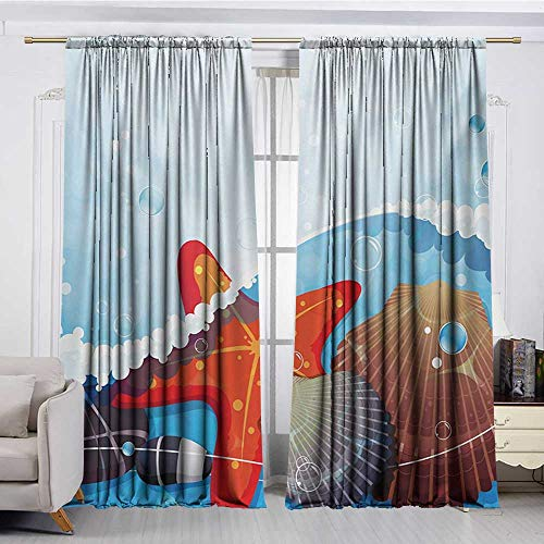 DESPKON-HOME Curtain for Kids Room,Starfish Foaming Ocean Waves Graphic with Scallops and Seastar and Pebble Stones Bubbles Design Darkening Curtains (72W x 63L inch,Multicolor)