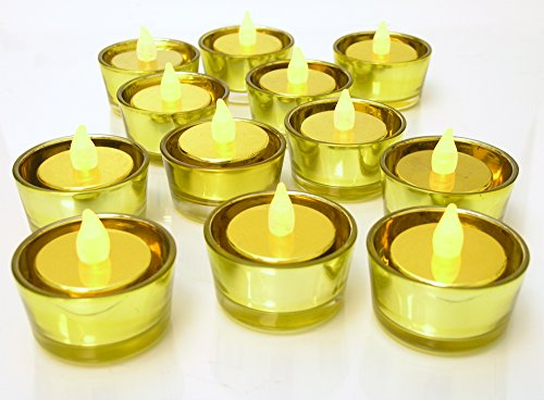 (BANBERRY DESIGNS Gold Candle Holder - Set of 72 Glass Tea Light Holders - Christmas Candles - 50th Wedding Anniversary Table Centerpieces - Gold Party)