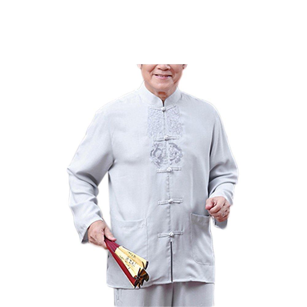 KIKIGOAL Mens Martial Arts Kung Fu Uniform Long Sleeve Tang Suit With Pattern (170, grey) by KIKIGOAL