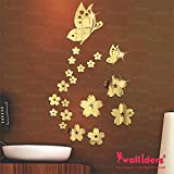Wall1Ders Butterfly & Flowers Golden (Pack Of 21) 3D Acrylic Decorative Mirror Wall Stickers