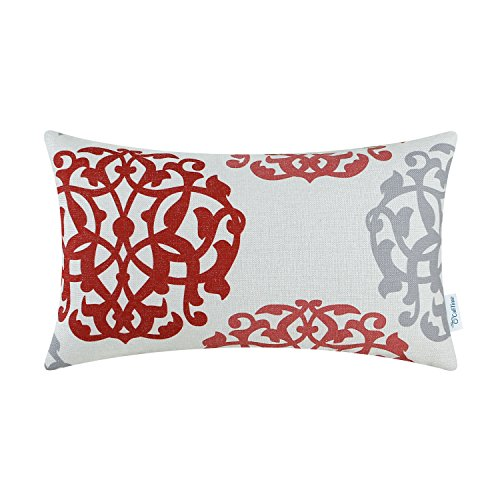CaliTime Canvas Bolster Pillow Cover Case for Couch Sofa Home, Three-tone Floral Compass Geometric 12 X 20 Inches, Red / Gray - Damask Accent Pillow