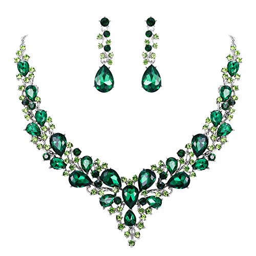 BriLove Wedding Bridal Necklace Earrings Jewelry Set for Women Austrian Crystal Teardrop Cluster Statement Necklace Dangle Earrings Set Emerald Color Silver-Tone ()