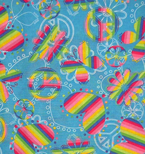 1/2 Yard - Retro Style Peace Signs Butterflies
