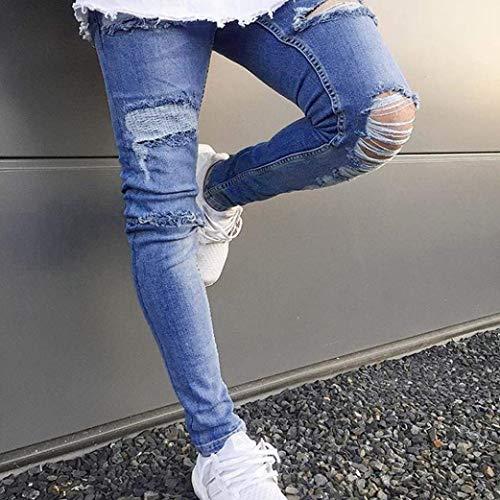 Vintage Blu Stretch Pants Uomo Denim Blau Slim Da Fit Giovane Pantaloni qwH87tt