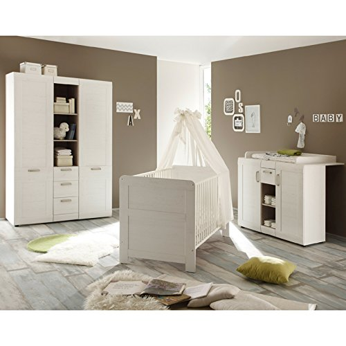 maisonnerie 1433 605 57 chambre bb complte avec lit cration style campagnard blanc pin amazonfr bbs puriculture - Chambre Olivia Bebe