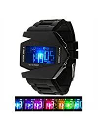Boys Kids Digital Sport Watch Warcraft Fighter Multi Function for Kids Age Above 12 LED 50M Outdoor Waterproof Electronic Analog Quartz Silicone Wrist Watches for Kids Children Boys (Black)