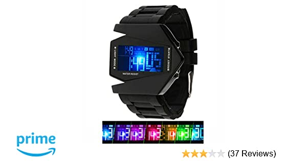 Amazon.com: Kids Mens Digital Sport Watch Warcraft Fighter Multi Function for Age Above 12 LED 50M Outdoor Waterproof Electronic Analog Quartz Silicone ...