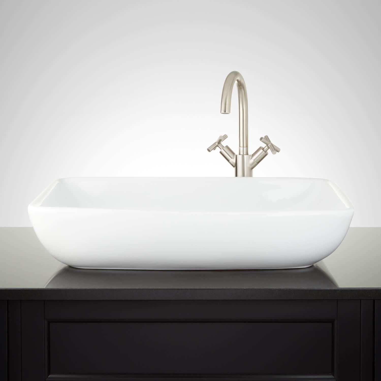 "Signature Hardware 941474 Galindo 24"" Vitreous China Vessel Bathroom Sink"