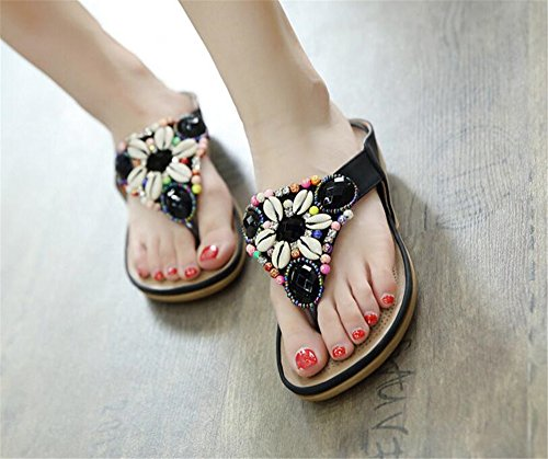 Womens Comfortable Flat T Rhinestones Shoes Beach Strap Sandals Black Summer Sandals 1w1YHqrBx
