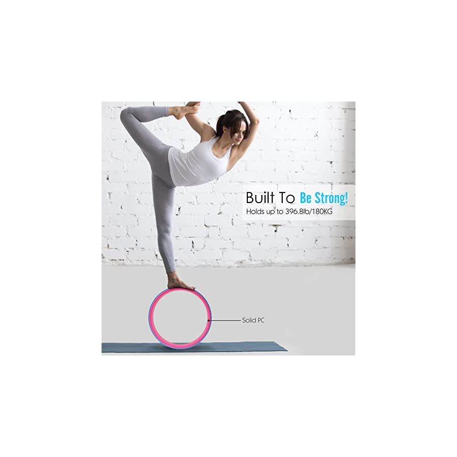 """MoKo Yoga Wheel with Yoga Towel, 13"""" Exercise Wheel Yoga Prop (with 72""""x25"""" Microfiber Non Slip Mat Towel) For Backbends, Stretching, Chest & Shoulders Relief, Core Strength & Balance Trainers BLUE"""