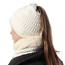 FLY HAWK Women Girl Hat Scarf Set Knit High Ponytail Beanie Warm Liner SkullCap