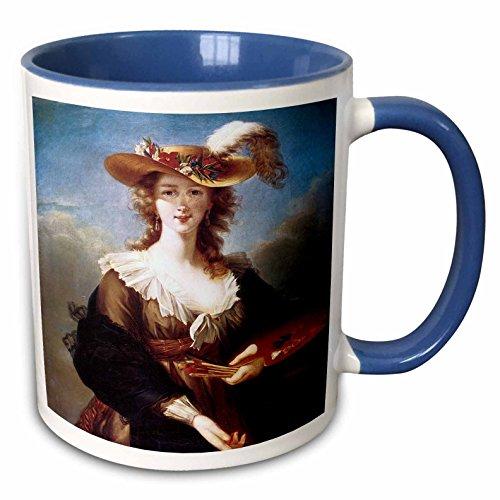 (3dRose BLN Portrait Gallery by the Masters Fine Art Collection - Self-Portrait by Elisabeth Vigee-Lebrun - 15oz Two-Tone Blue Mug (mug_128109_11))