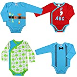 juDanzy baby boy bodysuits in kimono or standard styles (6-9 Months, 4 Pack Bundle)