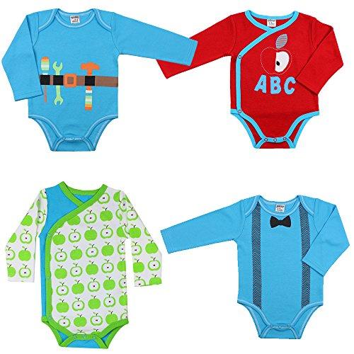juDanzy baby boy bodysuits in kimono or standard styles (6-9 Months, 4 Pack Bundle) by juDanzy