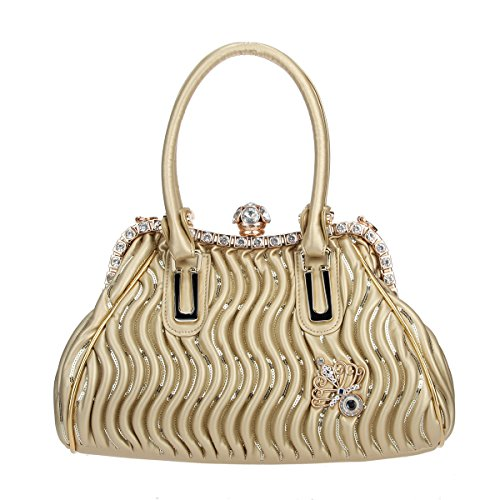 Purse Bonjanvye And Pu Leather Women Gold Butterfly Hand Spherical For Crystal Bags Ball UvqUSr