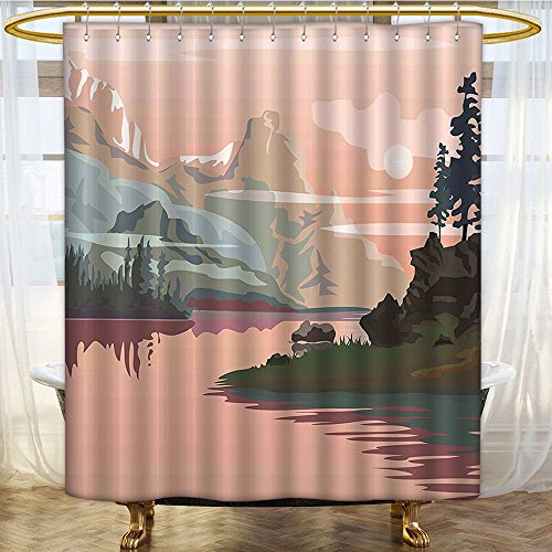 Shower Curtains with Shower Hooks Valley with Paint River Rocks Peach Light Pink Olive Green Fabric Bathroom Set with Hooks W54 x H78 inch