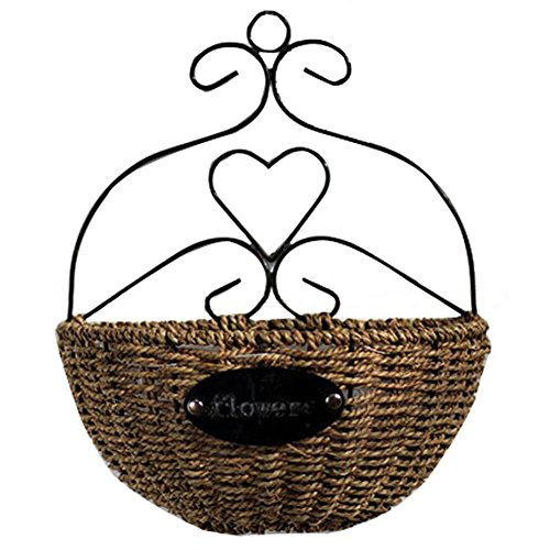 Finebaby Decorative Woven Willow Storage Basket Wall Hanging Vine Basket Countryside Primitive Vintage Style Plant Vase for Home/Cafe/Restaurant Decoration