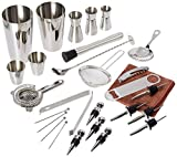 Professional Bartender kit, Stainless Steel 26 Pieces Martini Cocktail Bar Set | Include Boston Shaker,Spoon,Muddler,Hawthorne Strainer,Julep Strainer,Fine Strainer,Picks etc.