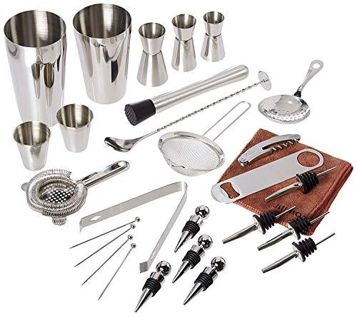 Stainless Spoon Boston Steel (Professional Bartender kit, Stainless Steel 26 Pieces Martini Cocktail Bar Set | Include Boston Shaker,Spoon,Muddler,Hawthorne Strainer,Julep Strainer,Fine Strainer,Picks etc.)