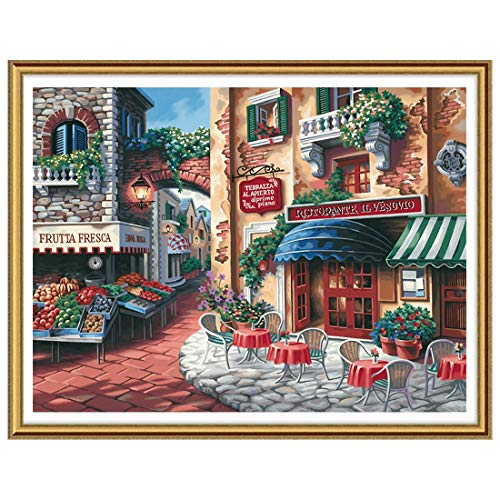 Ginfonr 5D Diamond Painting Full Drill Mediterranean Scenery by Number Kits for Adults, Italian Style DIY Paint with Diamonds Art Craft Rhinestone Cross Stitch Decor (12x16 inch, 30x40 cm)