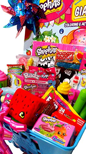 Shopkins Gift Basket; Authentic Shopkins Shopping Basket Loaded with Shopkins Toys, Candy & Treats. Jumbo Shopkins Gift Basket for Birthday, Christmas, Get Well, Thinking of You! for $<!---->