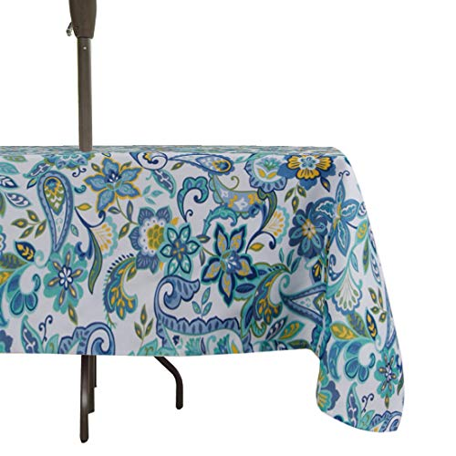 (Eternal Beauty 60 x84 Inches Stain Resistant Outdoor Umbrella Tablecloth Round with Zipper Hole Spillproof for Picnic Patio Tea Dessert Table (Floral))