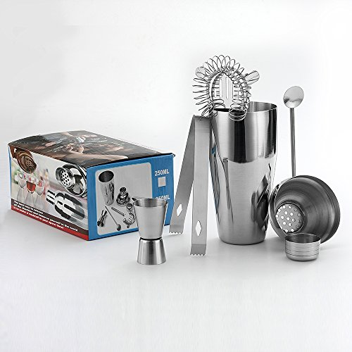 5 Piece Stainless Steel 25 oz Cocktail Shaker Set by QLL, Silver Tipsy Tools Bartending Kit Cocktail Strainer Drink Stirrer Ice Tongs Jigger by QLL (Image #5)