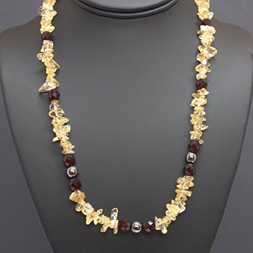 Citrine Gemstone Chips Necklace - Fire-polished Siam Beads, Hematite Glass Beads, 20-in (Siam Gem)