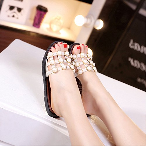 LIVY Ms. 2017 verano nuevas sandalias de verano sandalias planas y zapatillas deslizadores de las mujeres puesto Marrón