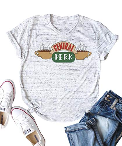 Central Perk Friends Shirt for Women Funny Letters Print Graphic Tees Friends TV Show Tops Size M (White)