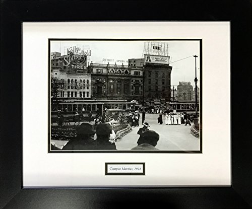 Baseball Large Framed Print (Vintage Pictures of Detroit Black and White Wood Framed Double Matted Large - 23.5 x 19.5 Inch (Campus Martius 1918))