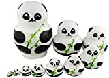 Perfect Mother's Day Gift Set of 10 Cute Giant Panda Bear With Green Bamboo Nesting Dolls Matryoshka Animal Russian Handmade Kids Girl Surprise Christmas Holiday Birthday Toy Home Office Decoration