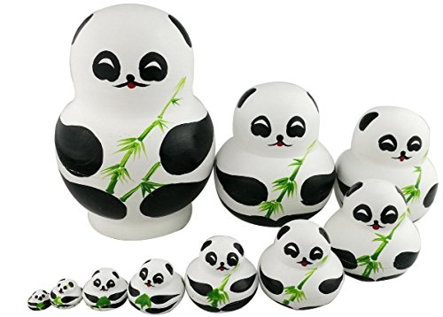 Winterworm Set of 10 Cute Giant Panda Bear with Green Bamboo Nesting Dolls Matryoshka Animal Russian Handmade Kids Girl Surprise Christmas Holiday Birthday Toy Home Office Decoration from Winterworm