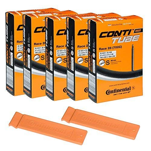 (Continental Bicycle Tubes Race 28 700x20-25 S80 Presta Valve 80mm Bike Tube Super Value Bundle (Pack of 5 Conti tubes & 2 Conti Race tire lever))