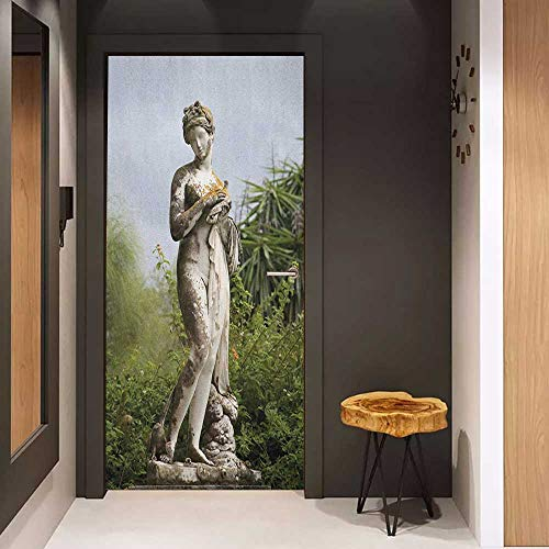 (Onefzc Door Wallpaper Murals Sculptures Sculptured Figure Greenery on The Grounds of Achillion Palace Corfu Island WallStickers W38.5 x H79 Green Beige)
