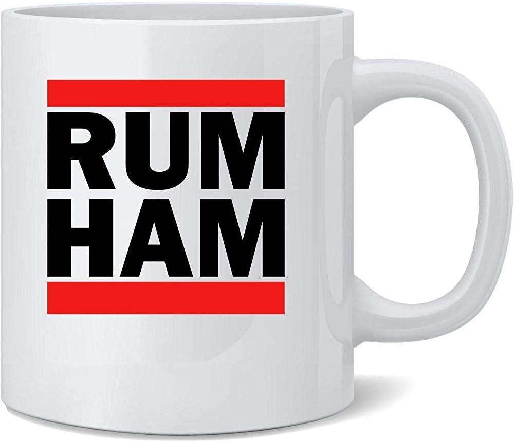 Ron Jamón Logotipo divertido Parodia Taza de café de cerámica ...
